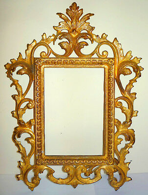 """Antique Gilt-Metal Rococo-Style 5"""" x 7"""" Tabletop Picture/Photo Frame - No Glass"""