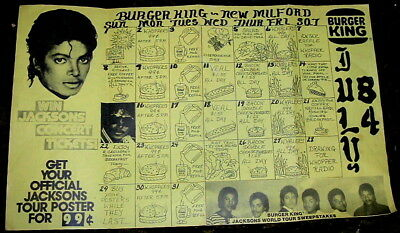 1984 Michael Jackson Paper Place Mat From Burger King From New Milford, Ct