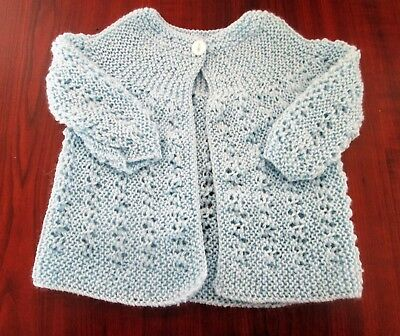 New Hand Knitted Prem/ Baby jacket. will also fit 16inch doll