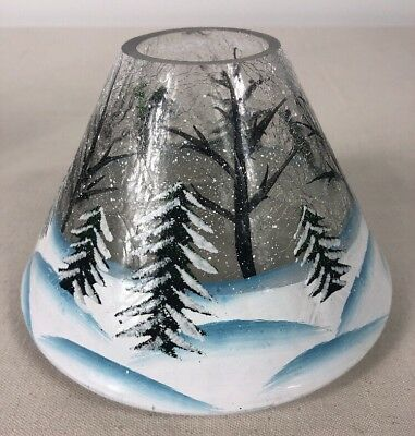 Yankee Candle Crackle Forest Glass Pine Trees Large Medium Candle Jar Shade