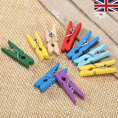 50/100pcs Wooden Clothespin 25mm Pin Paper Craft Clips Scrapbooking Peg UK STOCK