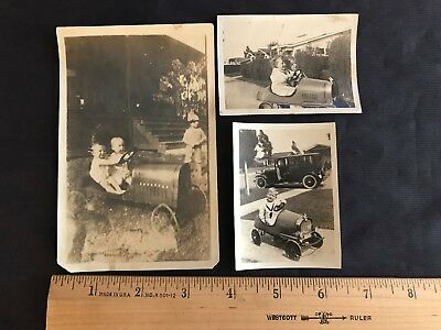 Lot of 3 Vintage 1926 Children in Pedal Cars Photos