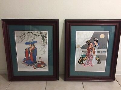 CAROLINE YOUNG Framed Art Pair.  MELODY OF SPRING/SISTERS OF THE RED CHAMBER