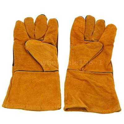 SALE 1Pair Leather Long Gloves for Welding Safety Welding Labor Gloves Orange