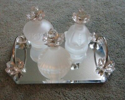Mirrored Vanity/Perfume Tray w/ 3 Frosted Glass Bottles w/ Flower Stoppers