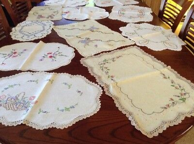Bulk Lot Of Lovely Embroidered Hand And Machine Made Doilies .