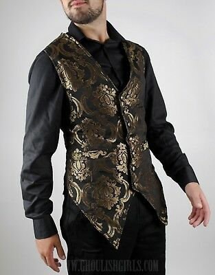 Dracula Clothing Black/Gold Brocade Men's Vest-Gothic Steampunk-See Listing