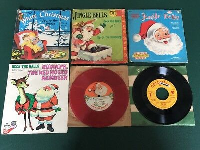 Lot of 6 Old Classic Antique Vintage Christmas Children's 45 Records Nice