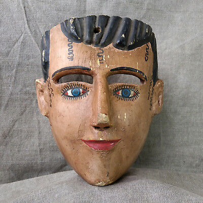 Vintage  Female Character Mask. Mexican Dance Mask. Mexican Folk Art.
