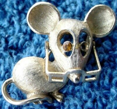 c A1 Rare Vintage Classy Silver Color Women's Mouse W Glasses Animal Brooch Pin