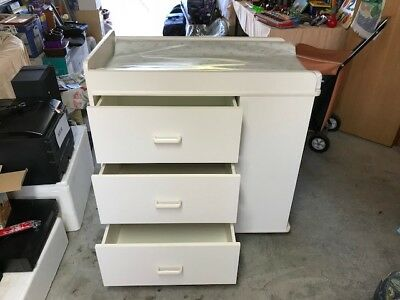 Baby Change Table 3 Large Drawers and 2 Adjustable Shelves Used Great Condition