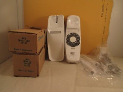 WHITE Western Electric TrImline ROTARY DESK Bell System Telephone NOS