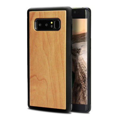 For Galaxy Note 8 Wood Case, Unique Handmade Engraving Natural(Cherry) X9A3