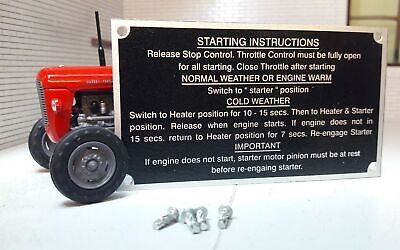 Massey Ferguson MF35 35 Tracteur Démarrage Instructions Assiette & Rivets