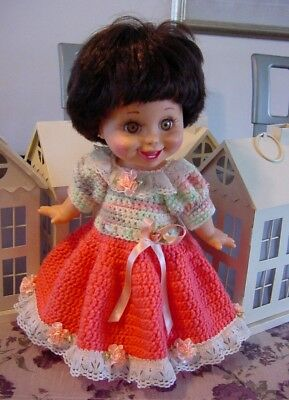 """Crochet Harvet Long Gown for 13"""" Galoob Baby Face Dolls - By DollDarlings"""