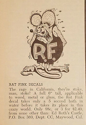 Roth Rat Fink Decal Ad - Car Craft Magazine July 1963