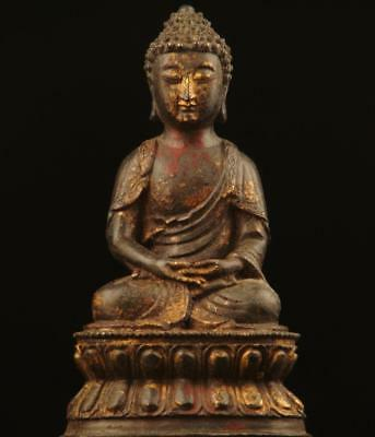 "BUDDHA: Antique Tibetan Sammasamadhi, Lacquered & Gilded Bronze,1800's, 9.5""Tall"