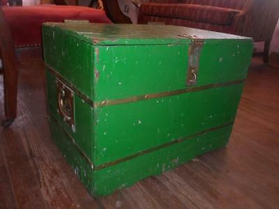 Antq Enameled Wood/Brass Bands & Handles Cloth Lined Toy Box Storage Chest Trunk