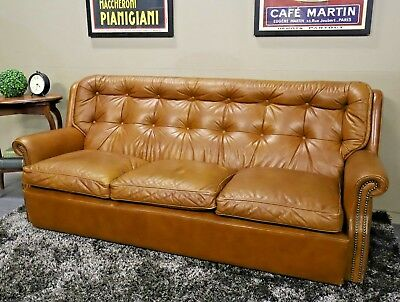 Gorgeous Vintage Moran 3 +Seat Chesterfield Cigar Brown Sofa Couch Lounge