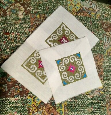 "Hmong Embroidery Reverse Applique, 3 Hand Sewn Fabric Quilt Squares, 5 1/2"" sq"