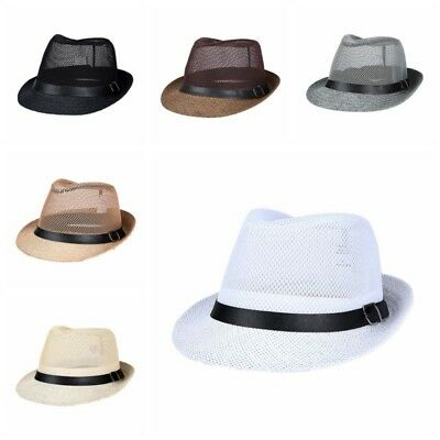 AU Women Men Braid Fedora Trilby Gangster Cap Summer Beach Sun Straw Panama Hat