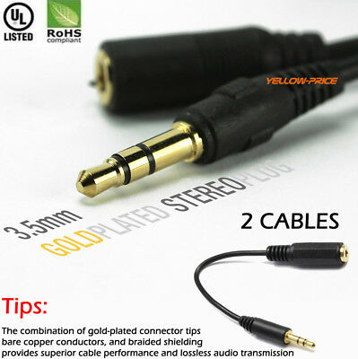 2pcs) 6inch AUX Extension Cable Male to Female 3.5mm Stereo Audio Auxiliary Cord