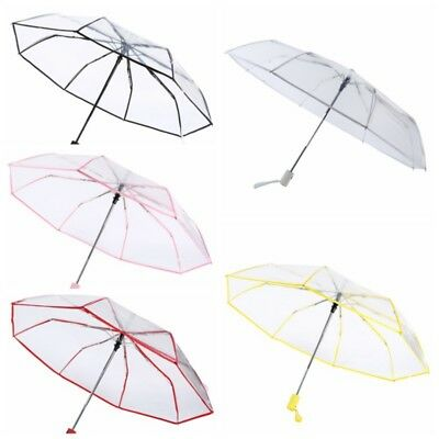 Automatic Umbrella Open Close Clear Folding Compact Windproof Rain Transparent