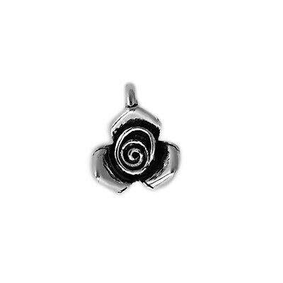 Solid 925 Sterling Silver 3D Rose Bud Flower Necklace Bracelet Charm Pendant