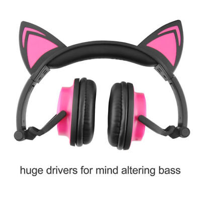 for kids Cat Ear Bluetooth Headphones Wireless LED Over Head Mic Stereo headset