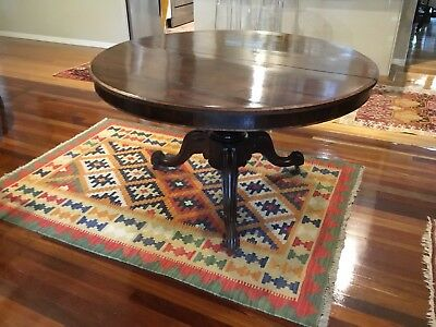 VICTORIAN 1m ROUND TABLE 19C. Beautifully inlaid top and upstand surround