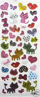 Love Animal Cat Kitty Heart Ribbon Dot 3D Vinyl Sticker Decor Kid Toy Gift JAPAN