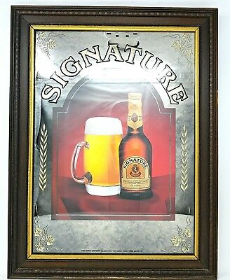 Vintage SIGNATURE STROH BEER SIGN MIRROR with Wood Frame