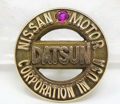 Tested Solid 10k Gold & Ruby Datsun Nissan Motor Corporation Service Pin