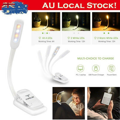 Portable Travel Flexible LED Clamp Clip On Reading Book Light Blub Rechargeable