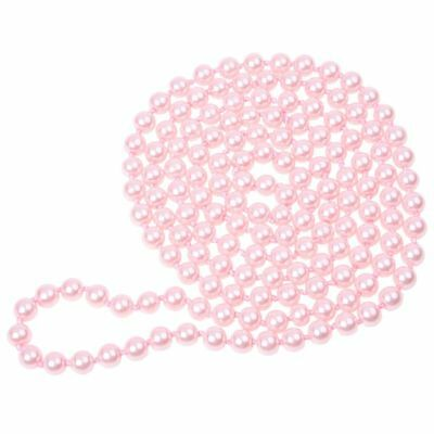 P Woman Glass Pearl Decor Round Beads Sweater Necklace 5ft Long C6Z2