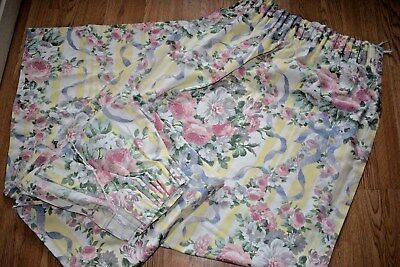 """Pair Pastel Floral CURTAINS 64"""" Wide 60"""" Long 64W 60L Good Quality Tape Top"""