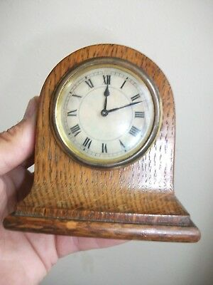 An Old Small Desk Or Mantle Clock - (10.5cm High x 10cm Wide x 5.5cm Deep)