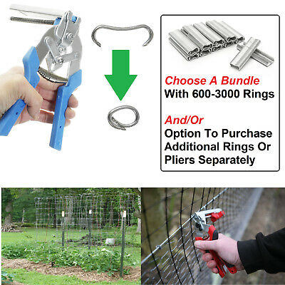 Hog Ring Plier Bundle 600/1200/3000 U-Shape Rings For Fencing Pet Cage Wire Bind