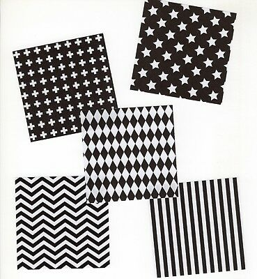 40pcs Monotone B&W Square Origami Craft Paper, 5 designs, 7.5cm x 7.5cm