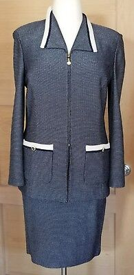 St.. John Collection by Marie Gray Navy Blue w/White Pattern Skirt Suit -  14/12