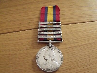 Queens South Africa medal 5 clasps Pte J Wright