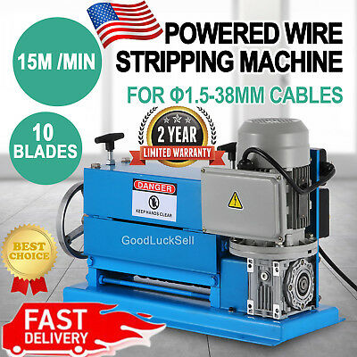 110V 370W Powered Electric Wire Stripping Machine 10 Blades Metal Cable Portable