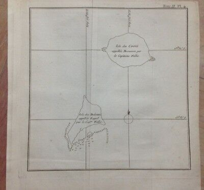 Pacific Cocos Island 1774 James Cook Antique Copper Engraved Map