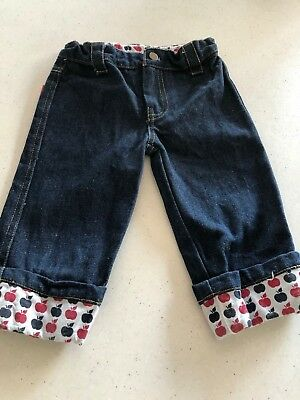 Rhubarb Girls Denim Pants With Apple Edges.  Sweet. Size 3-4. Collect Or Post