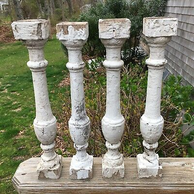 4 Vintage Architectural Salvage Wood Balusters Porch Spindles Painted White