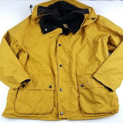 Barbour Jacket Mens XL X-Large Yellow Hood Waxed
