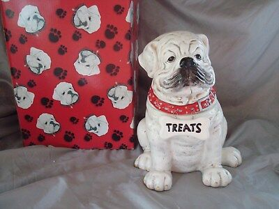 Bulldog Cookie & Treat Jar For Bulldog Lovers Ceramic Bulldog Treat Jar Nib