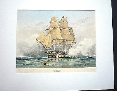 """ ORIGINAL 19th CENTURY ROYAL NAVY PRINT OF H.M.S. VICTORY.""  1890."
