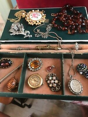 Vintage/antique Costume Jewellery Job Lot  Inc Silver And Watch Head