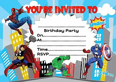 10 Superhero Spiderman Avengers Birthday Party Invitations Thank